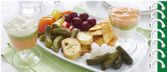 Pickle Platter with Dip Parfaits