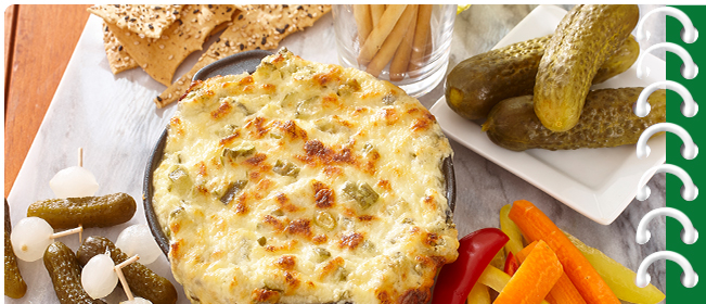 Cheesy Baked Pickle Dip Platter