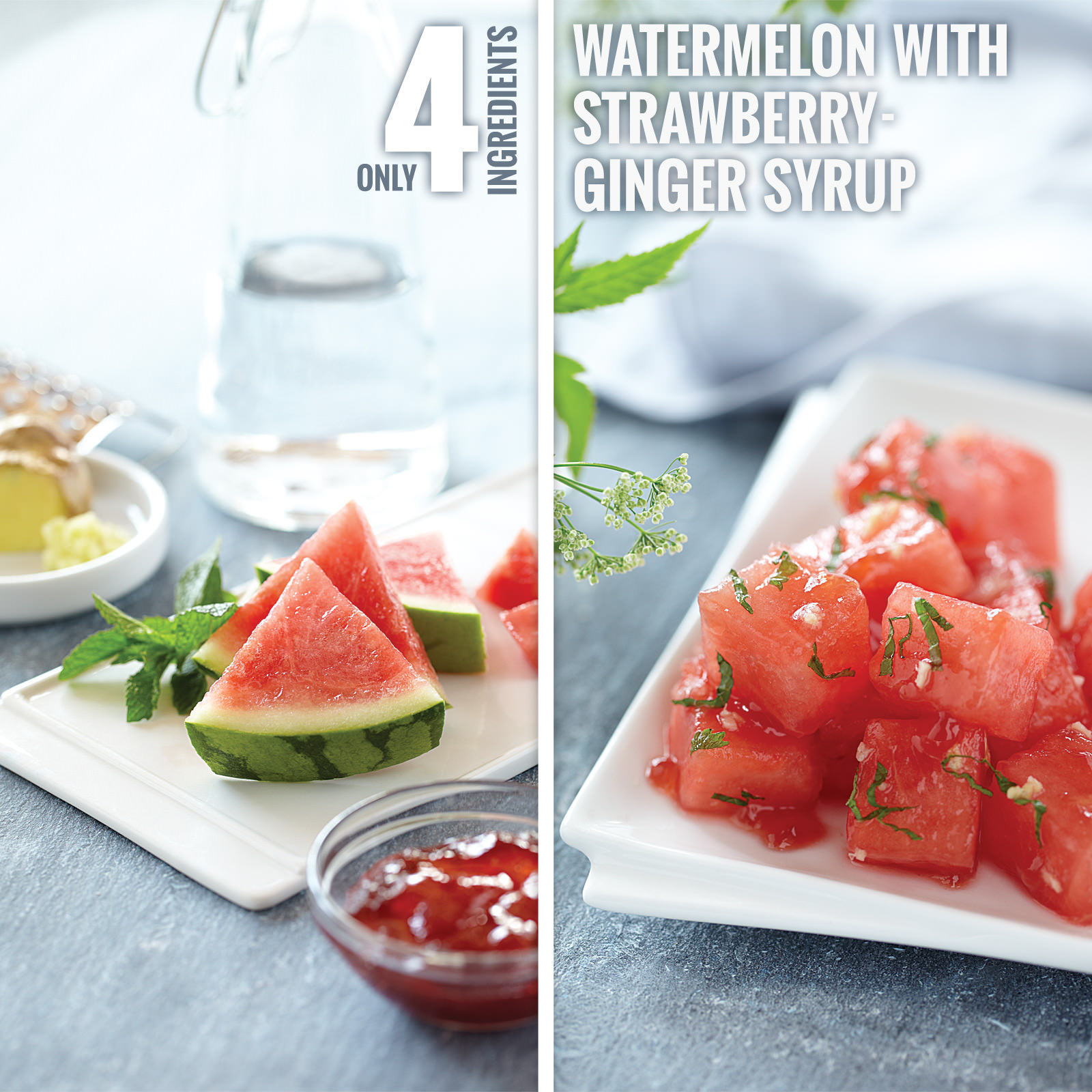 Watermelon with Strawberry-Ginger Syrup - Smucker's®