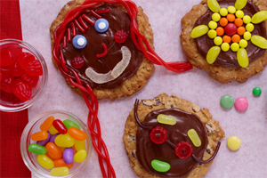 Chocolate Oatmeal Funny Face Cookies