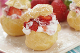Cream Puffs Filled with Strawberry Cream