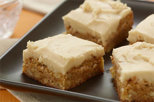 Apple Blondies with Caramel Icing
