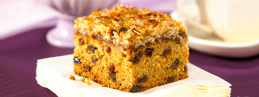 Raisin Oat Cake with Coconut Topping | Recipes