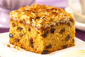 Raisin Oat Cake with Coconut Topping
