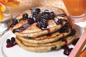 Blueberry Flaxseed Pancakes