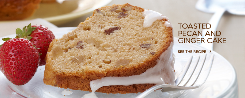 Toasted Pecan and Ginger Cake