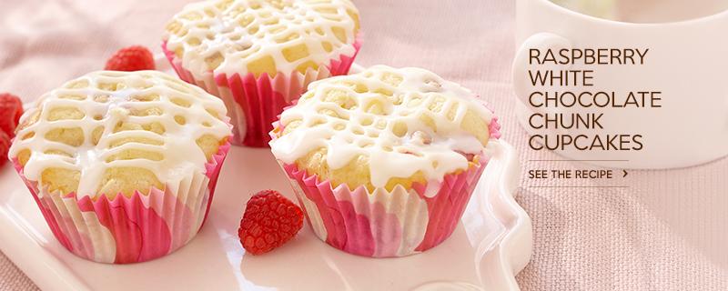 Raspberry White Chocolate Chunk Cupcakes