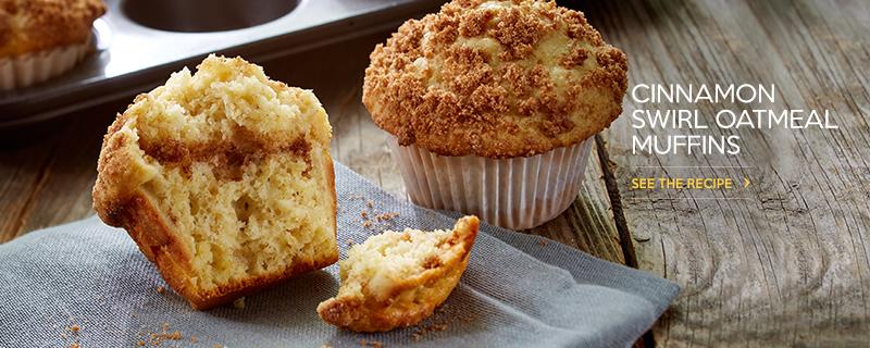 Cinnamon Swirl Oatmeal Muffins