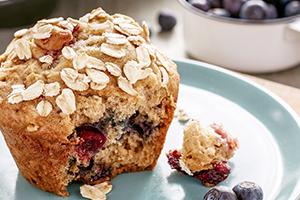 Blueberry & Raspberry Oat Muffins