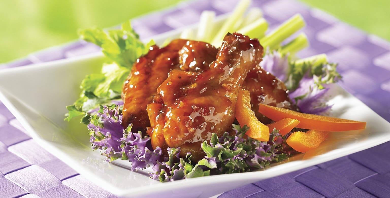 Voir la recette - Ailes de poulet miel et ail