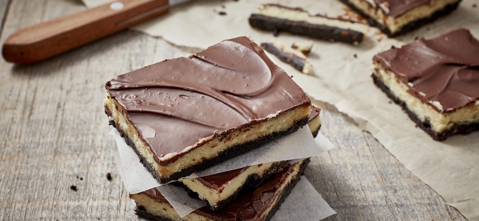 Voir la recette - Barres de gâteau au fromage au chocolat à la menthe