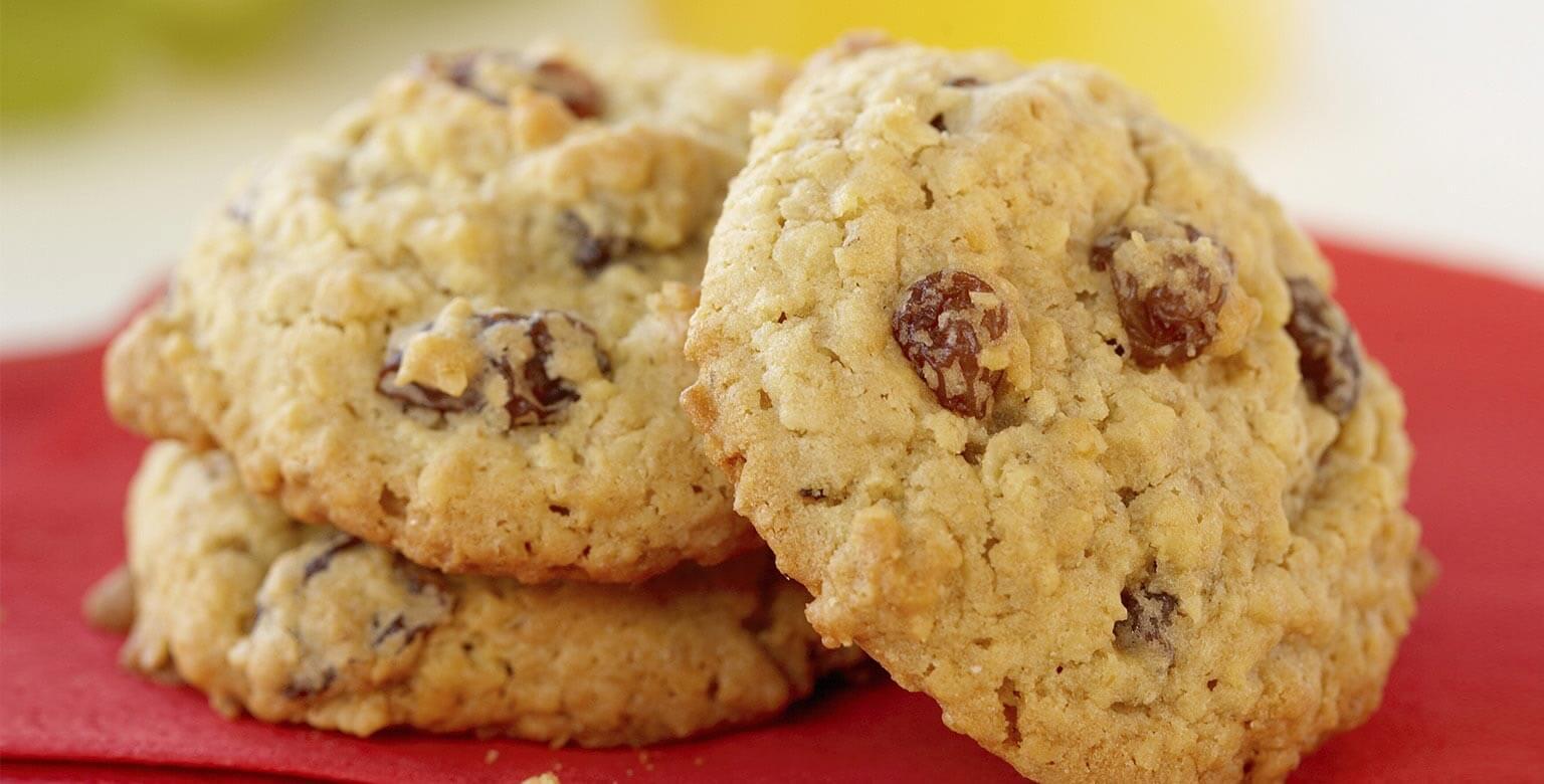 Voir la recette - Biscuits au gruau et aux raisins à l'ancienne