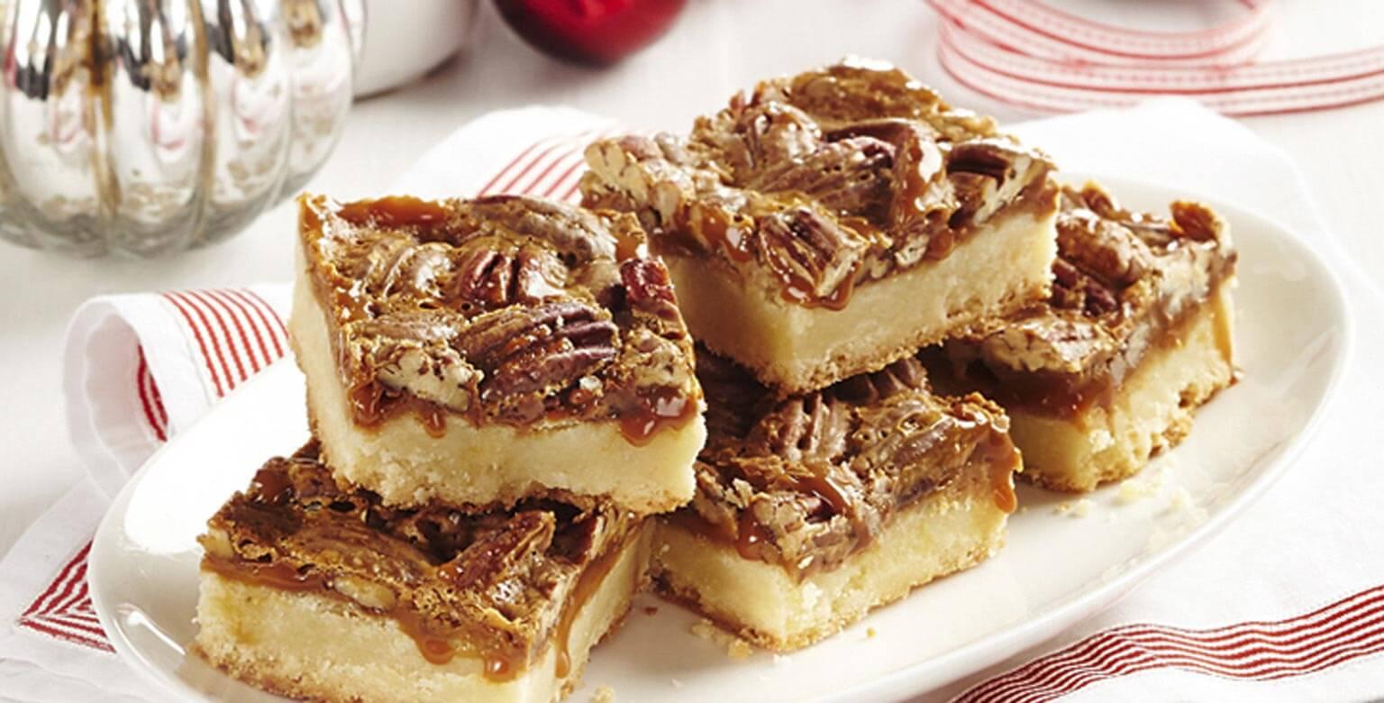 Voir la recette - Carrés à la tarte aux pacanes et au caramel