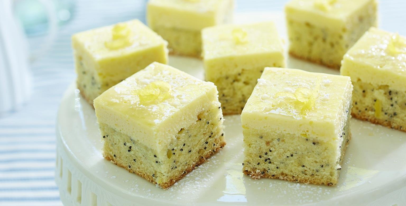 Voir la recette - Carrés au double citron et graines de pavot