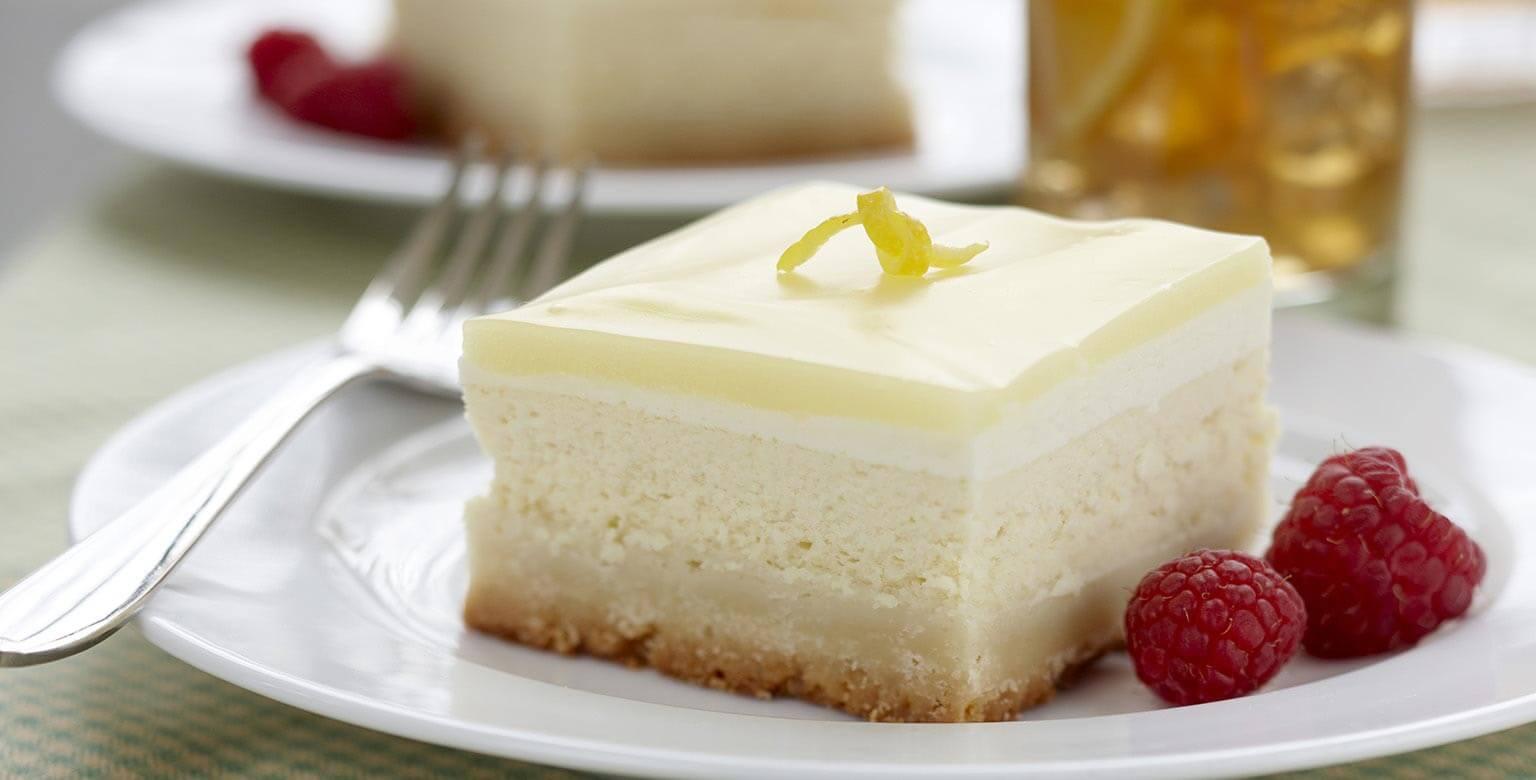 Voir la recette - Carrés de gâteau au fromage glacé au citron