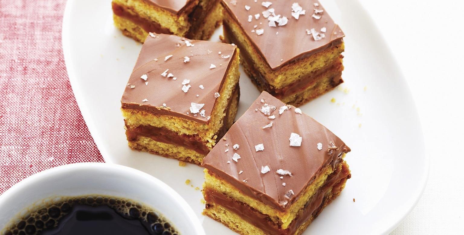 Voir la recette - Carrés sucrés et salés au chocolat et caramel