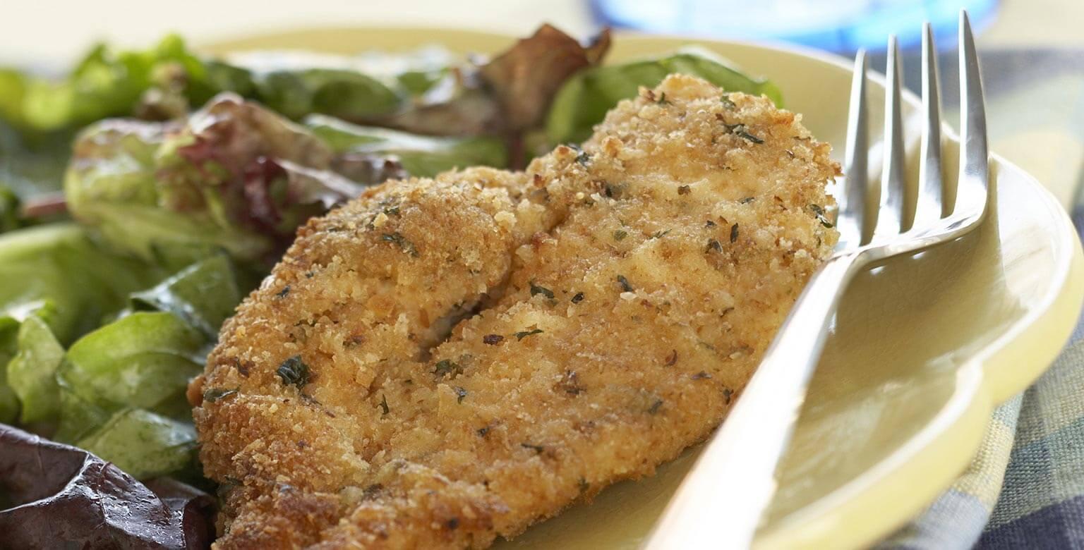 Voir la recette - Côtelettes de poitrine de poulet frites au four