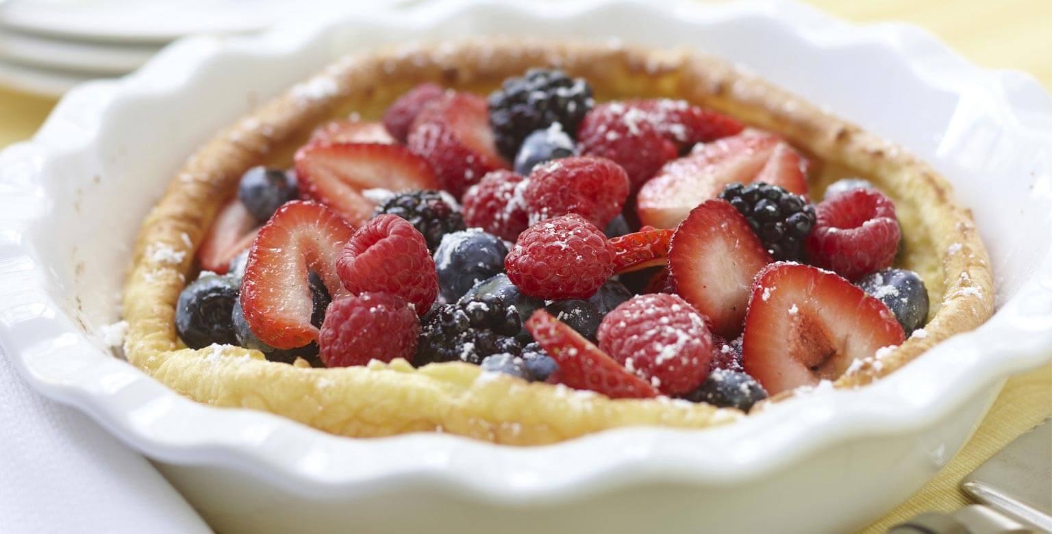 Voir la recette - Crêpes aux petits fruits cuites au four