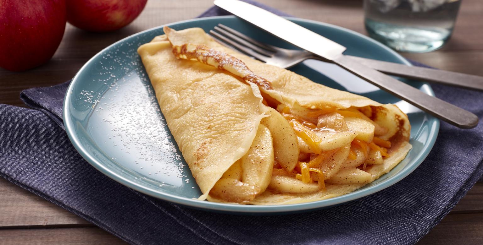 Voir la recette - Crêpes faciles aux pommes et au cheddar