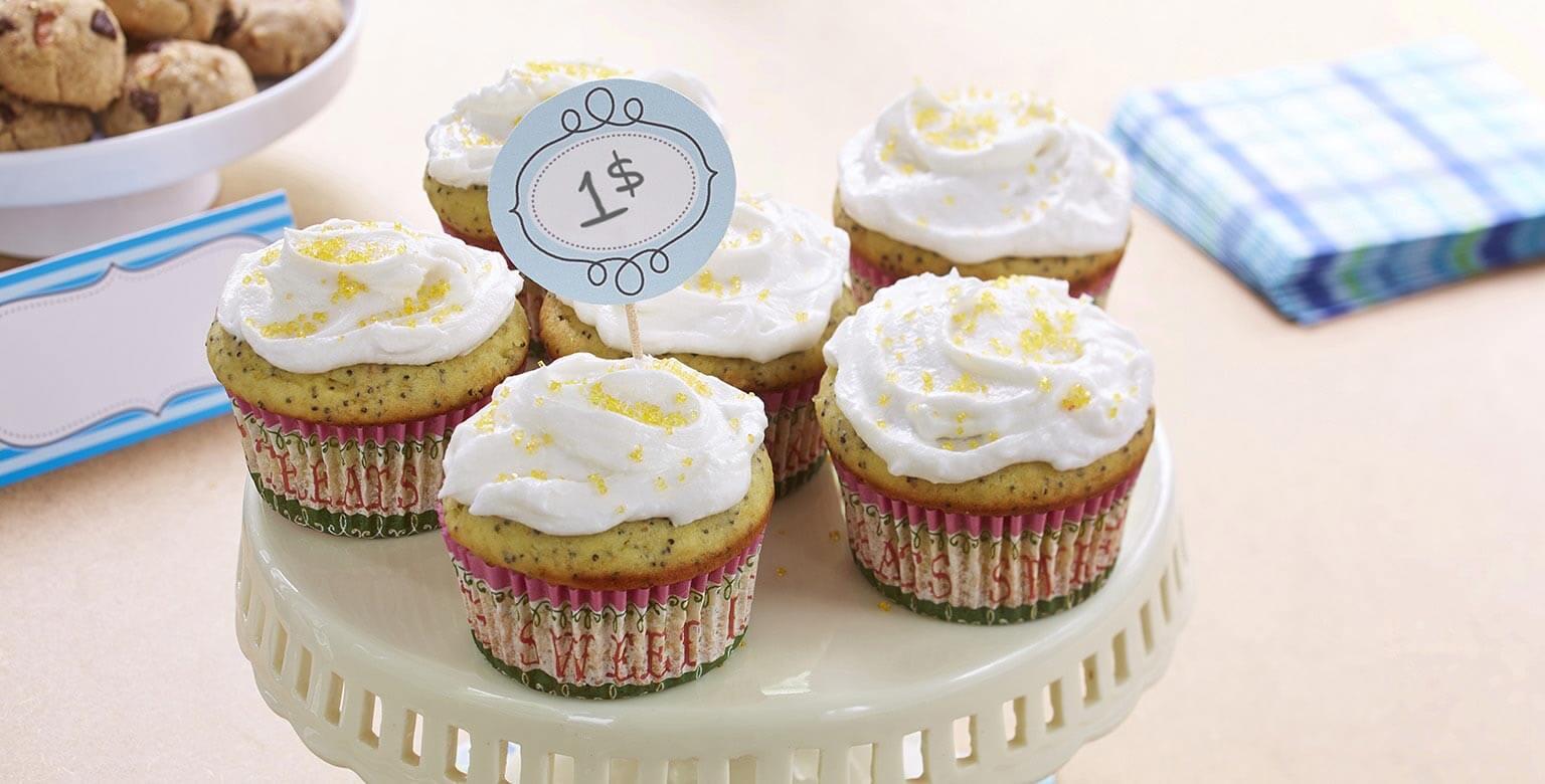 Voir la recette - Cupcakes au citron et aux graines de pavot