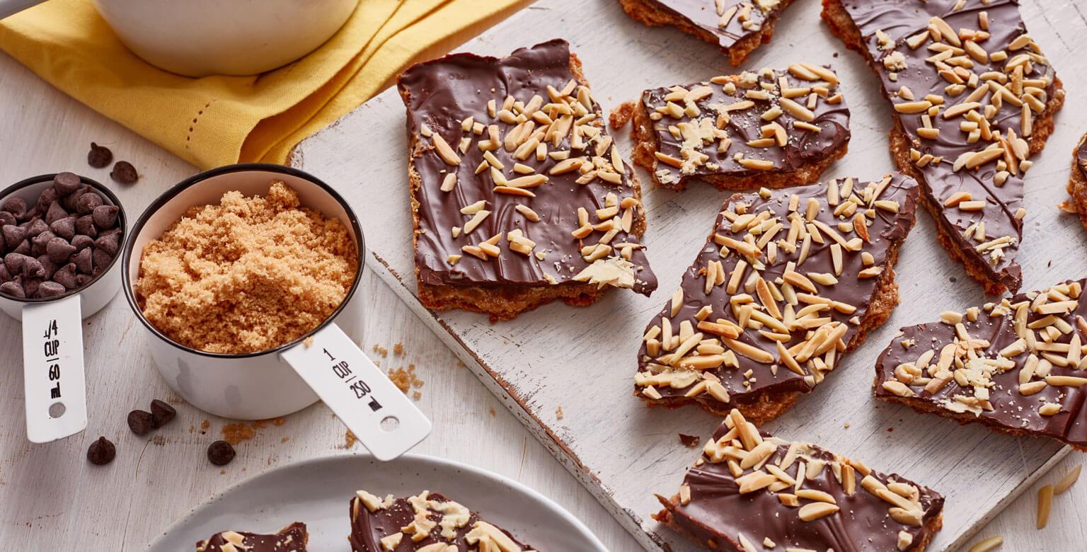 Voir la recette - Écorces de chocolat et caramel