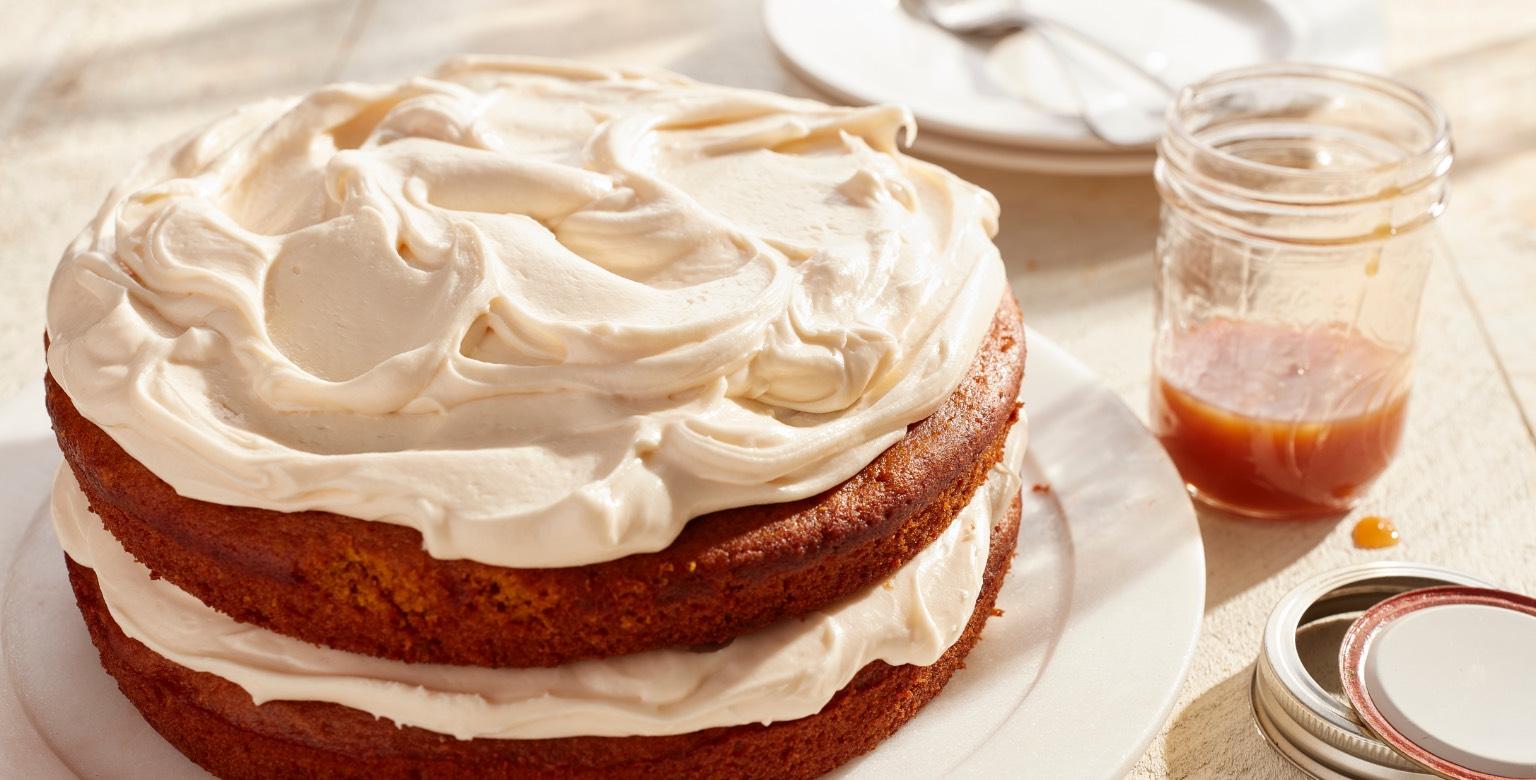 Voir la recette - Gâteau à la citrouille avec glaçage au caramel