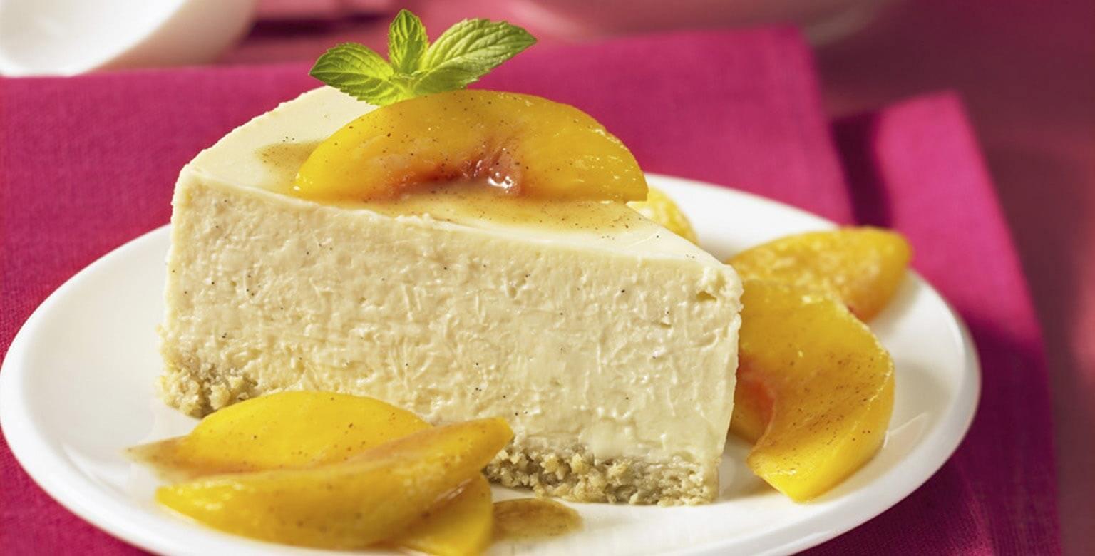 Voir la recette - Gâteau au fromage à la vanille avec pêches