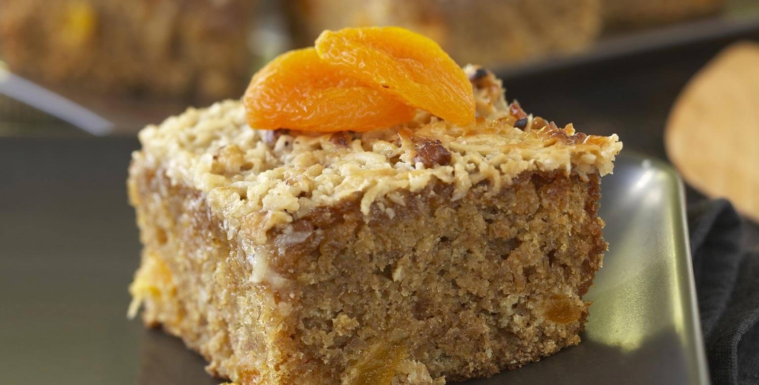 Voir la recette - Gâteau au gruau et aux abricots