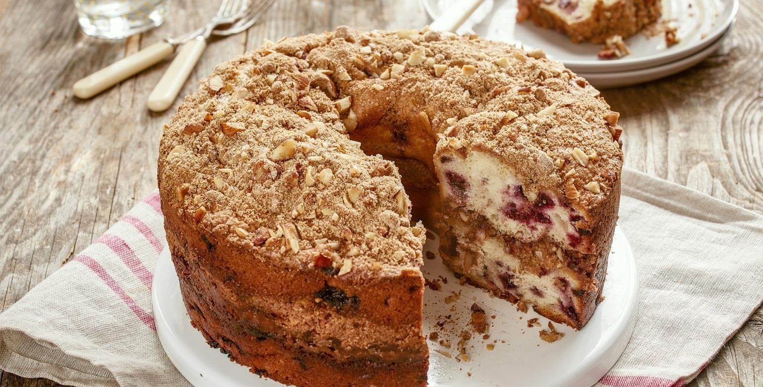 Voir la recette - Gâteau danois streusel aux cerises