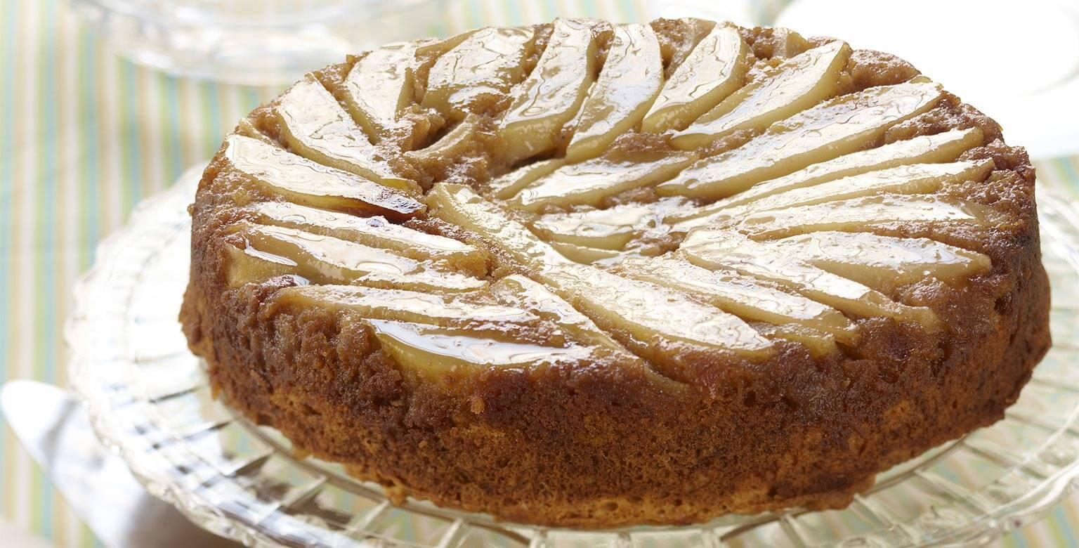 Voir la recette - Gâteau renversé à la citrouille et aux poires