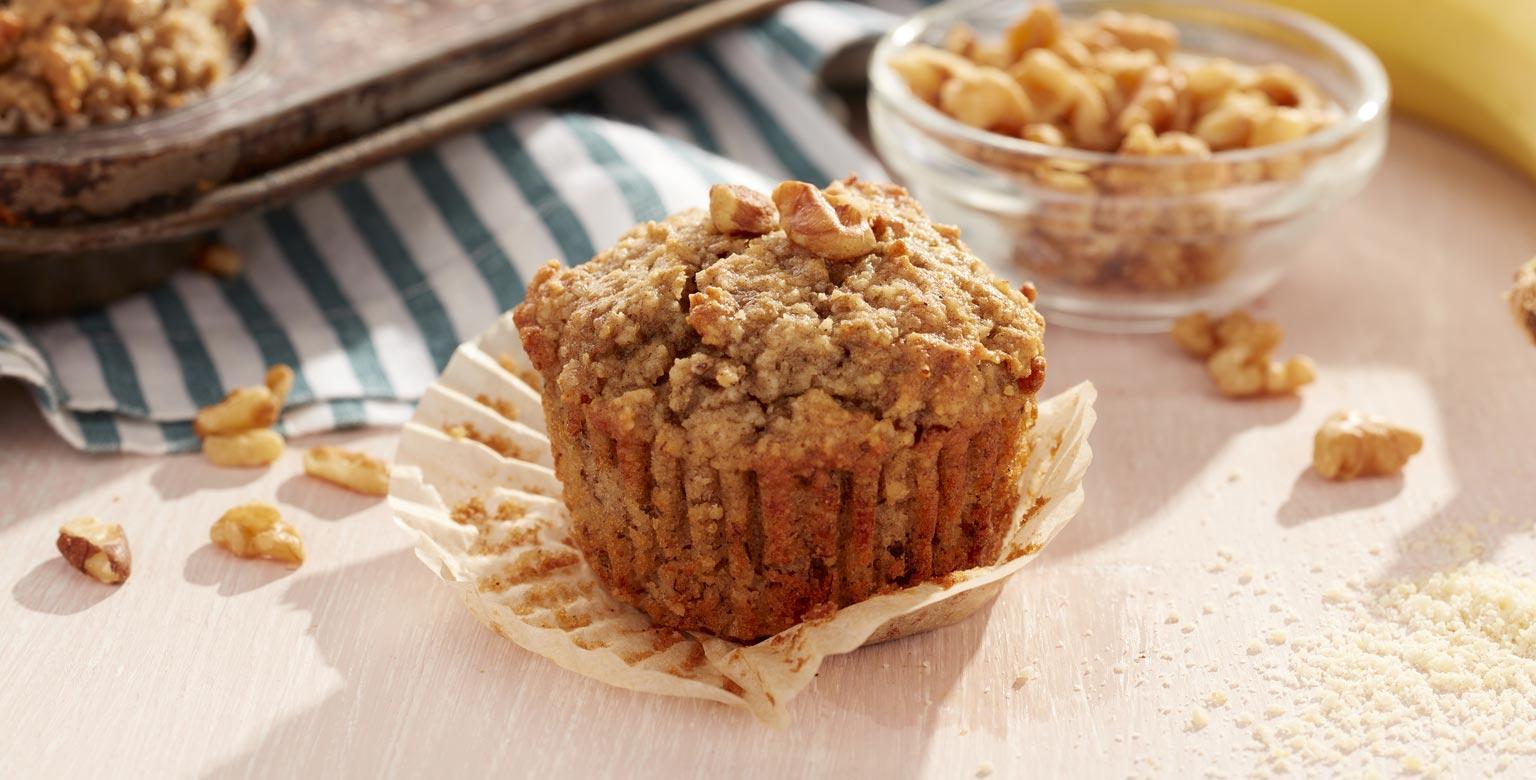 Voir la recette - Muffins aux bananes et aux noix sans farine