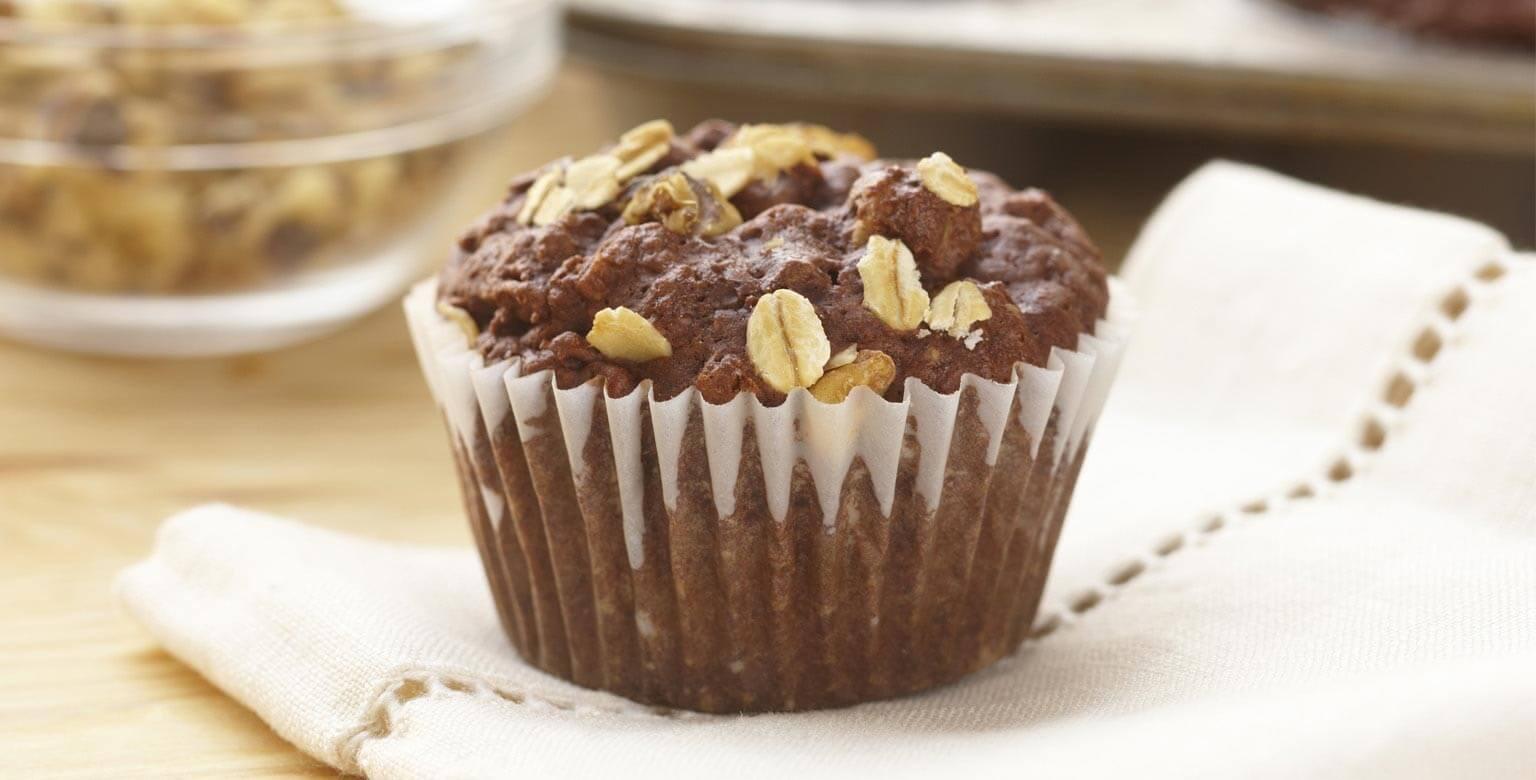 Voir la recette - Muffins au cacao et au gruau
