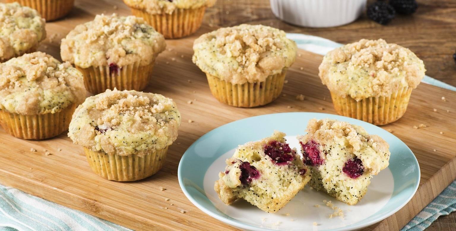 Voir la recette - Muffins au citron et aux mûres
