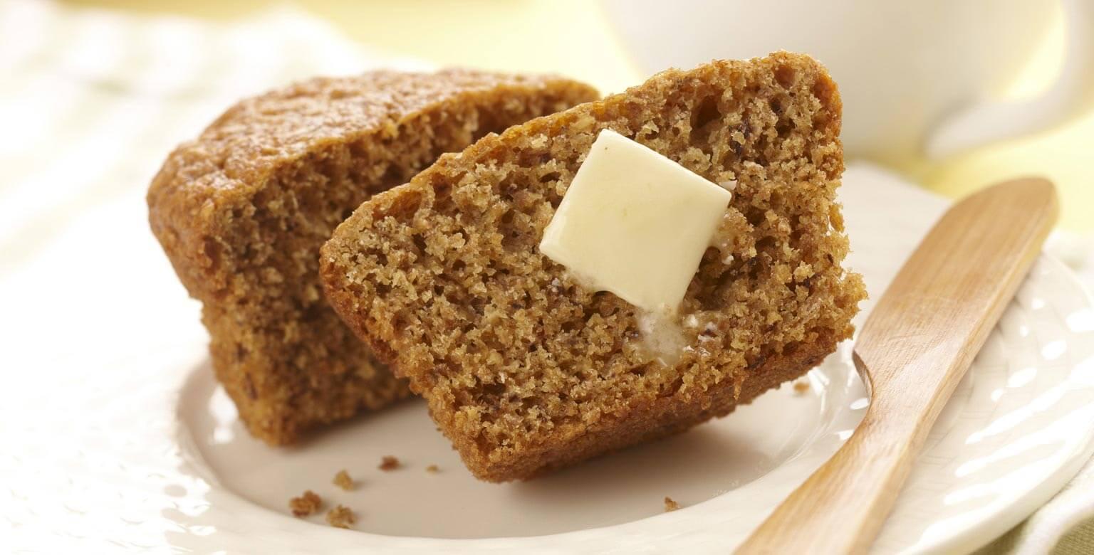 Voir la recette - Muffins au son et aux bananes