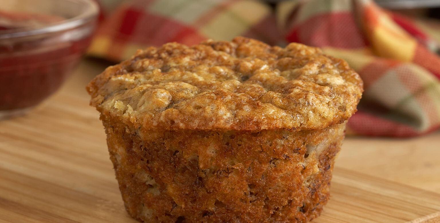 Voir la recette - Muffins aux bananes et aux flocons d'avoine