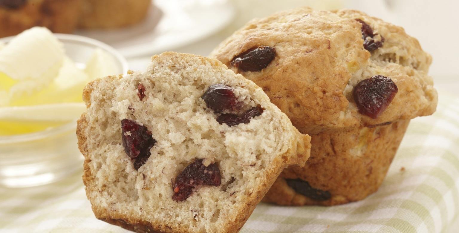 Voir la recette - Muffins aux bananes et canneberges
