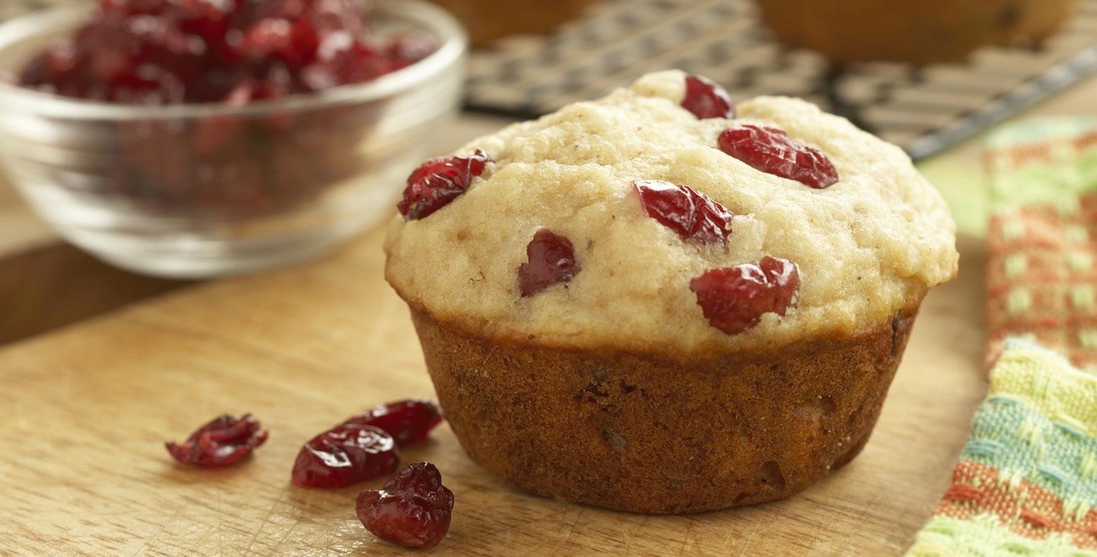 Voir la recette - Muffins aux canneberges et à la compote de pommes