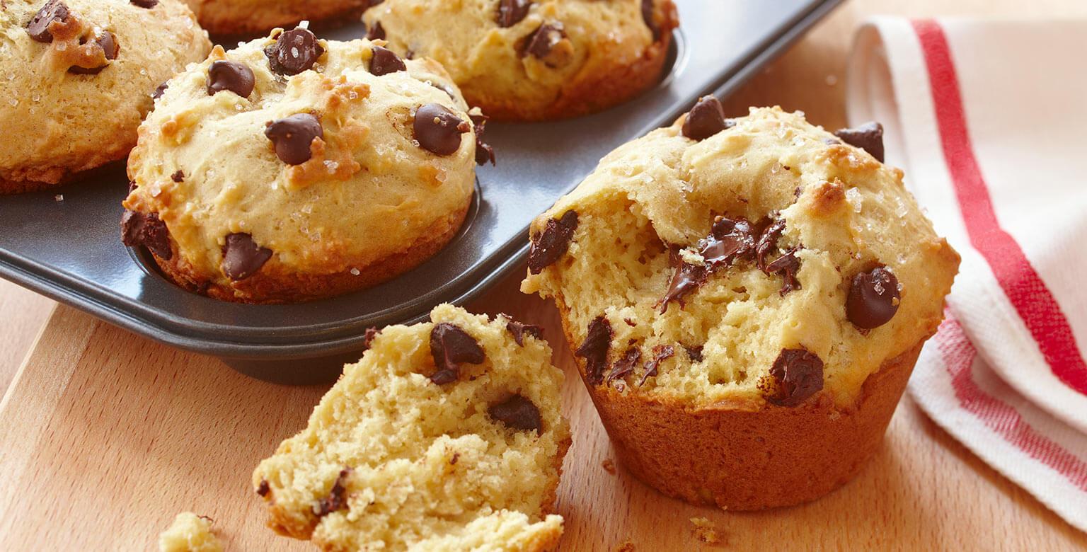 Voir la recette - Muffins aux pépites de chocolat