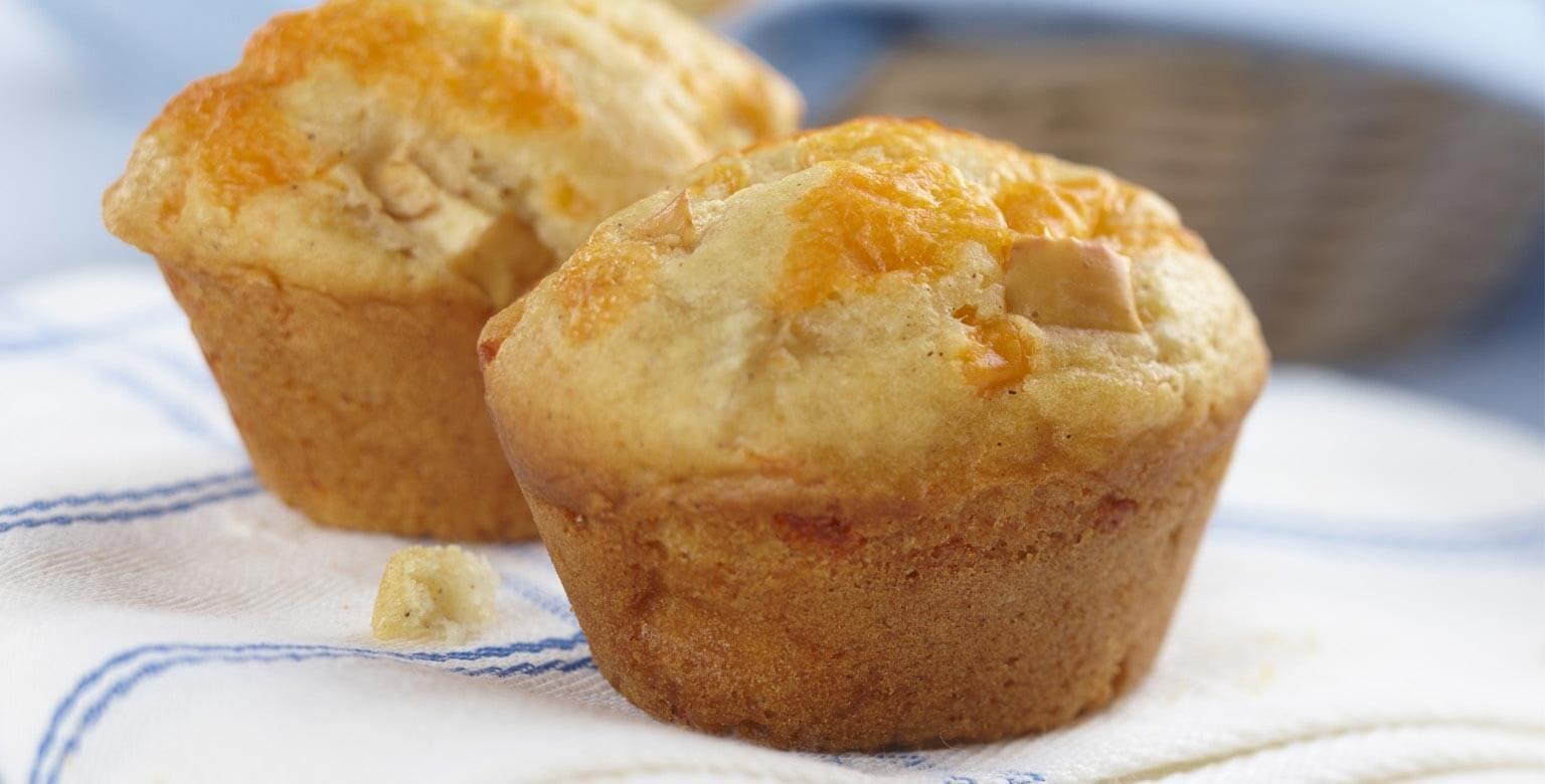 Voir la recette - Muffins aux pommes et au cheddar