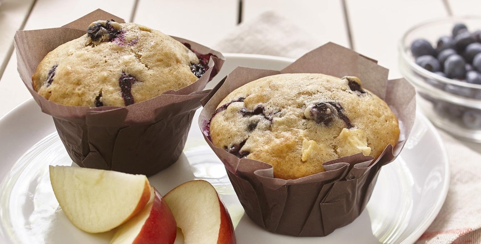 Voir la recette - Muffins aux pommes et aux bleuets