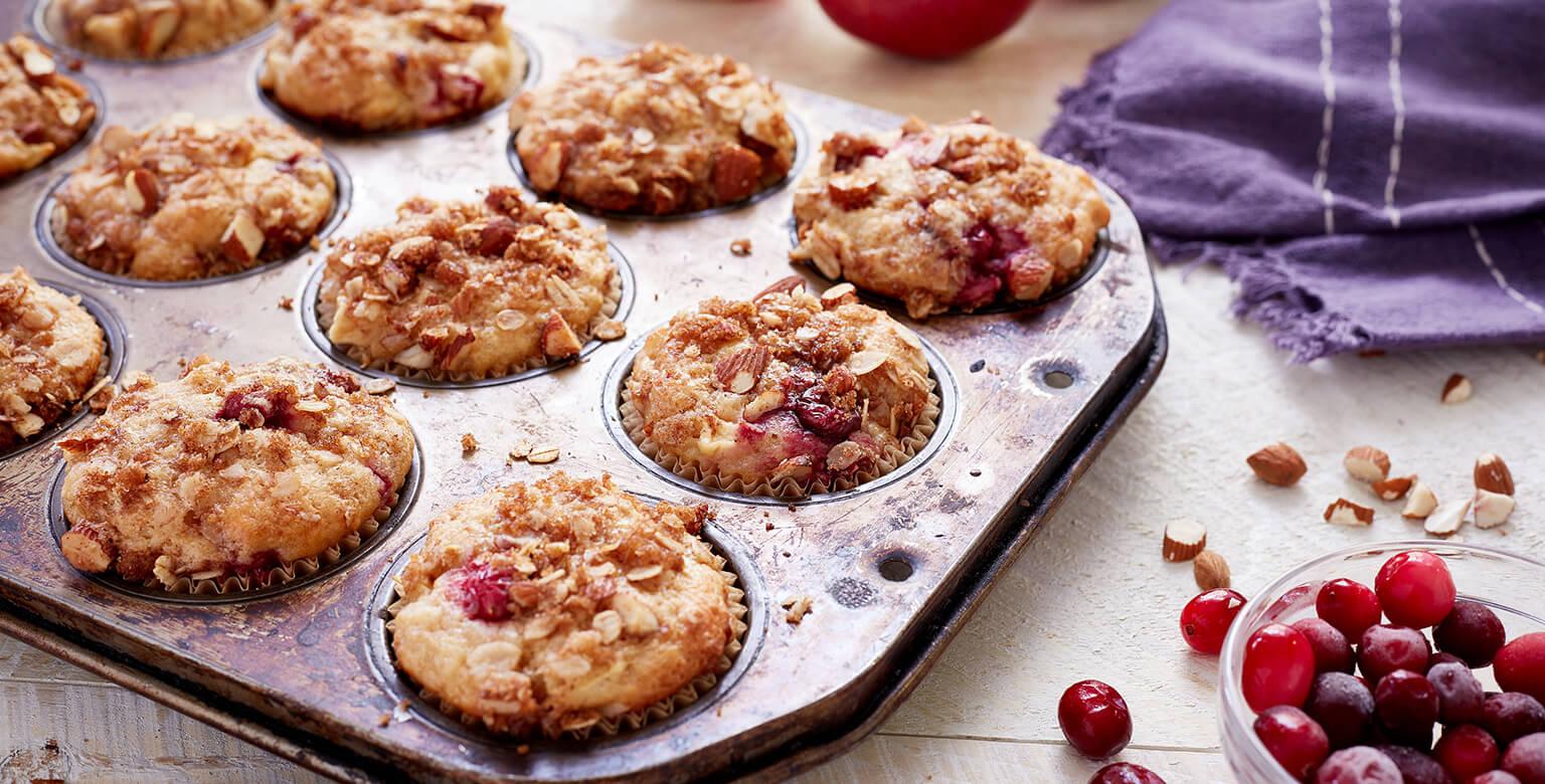 Voir la recette - Muffins croustillants aux pommes et aux canneberges
