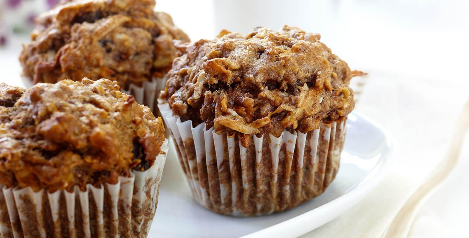 Voir la recette - Muffins de blé entier aux pommes, carottes et raisins