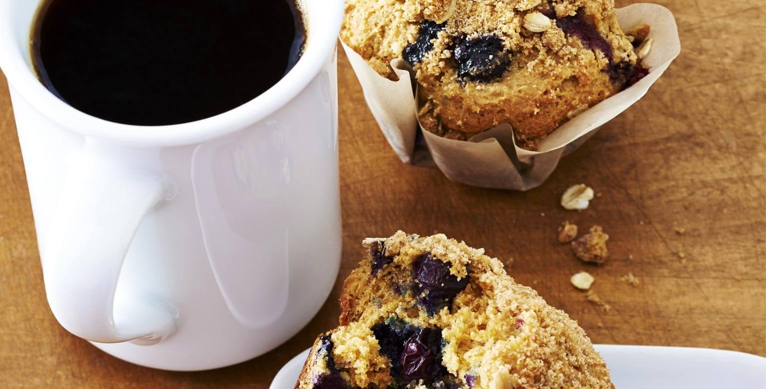 Voir la recette - Muffins streusel aux bleuets
