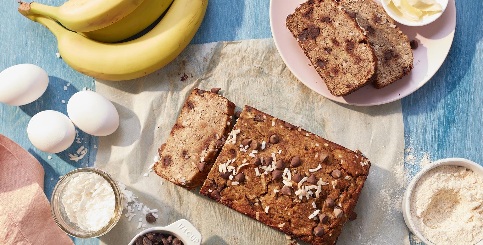 Voir la recette - Pain aux bananes à la farine de noix de coco