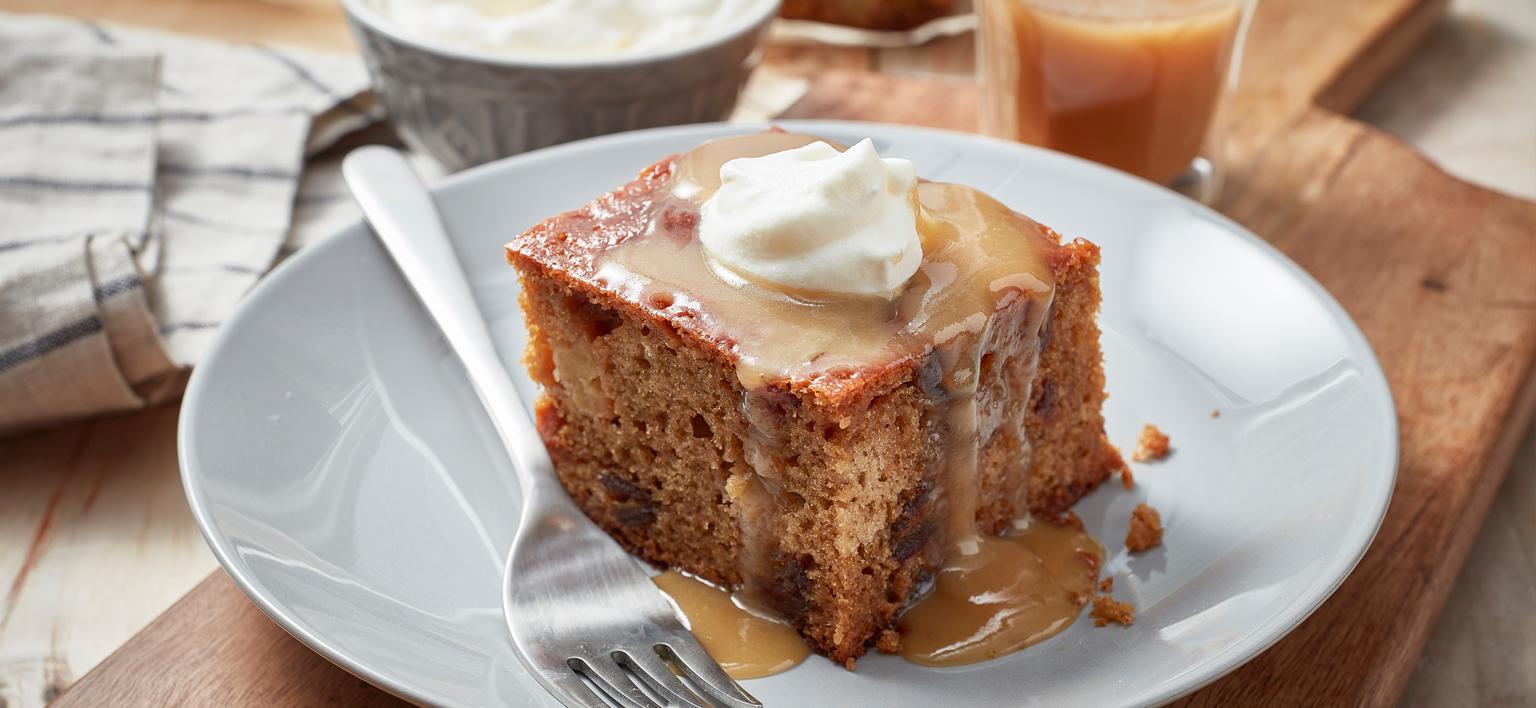 Voir la recette - Pouding aux pommes avec sauce au caramel