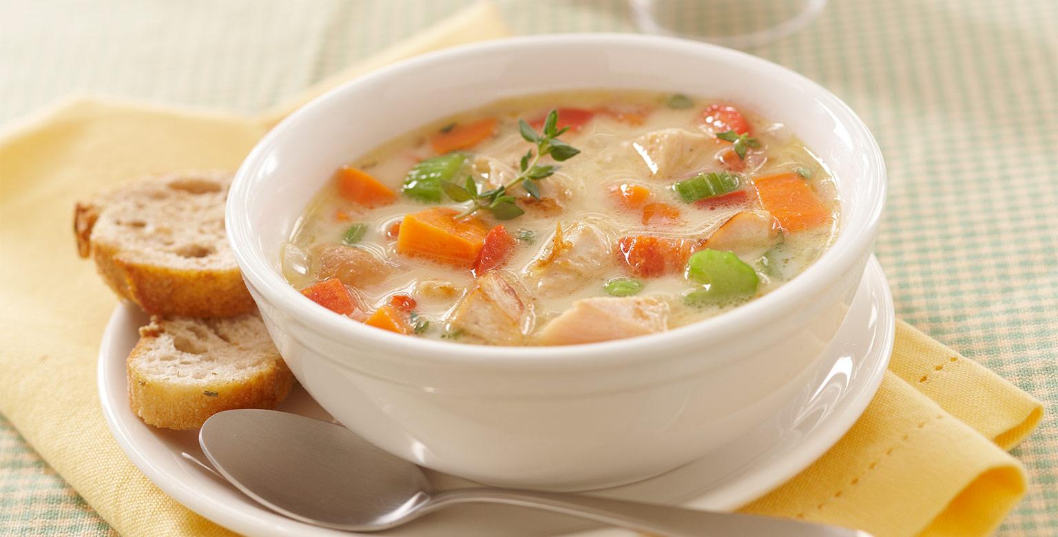 Voir la recette -  Soupe au pâté au poulet