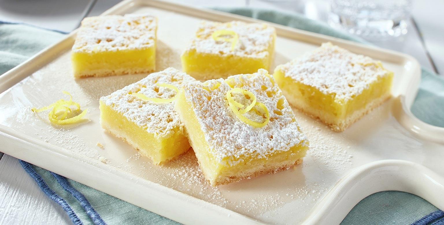 Voir la recette - Succulents carrés au citron (et oui, ils sont sans gluten*!)