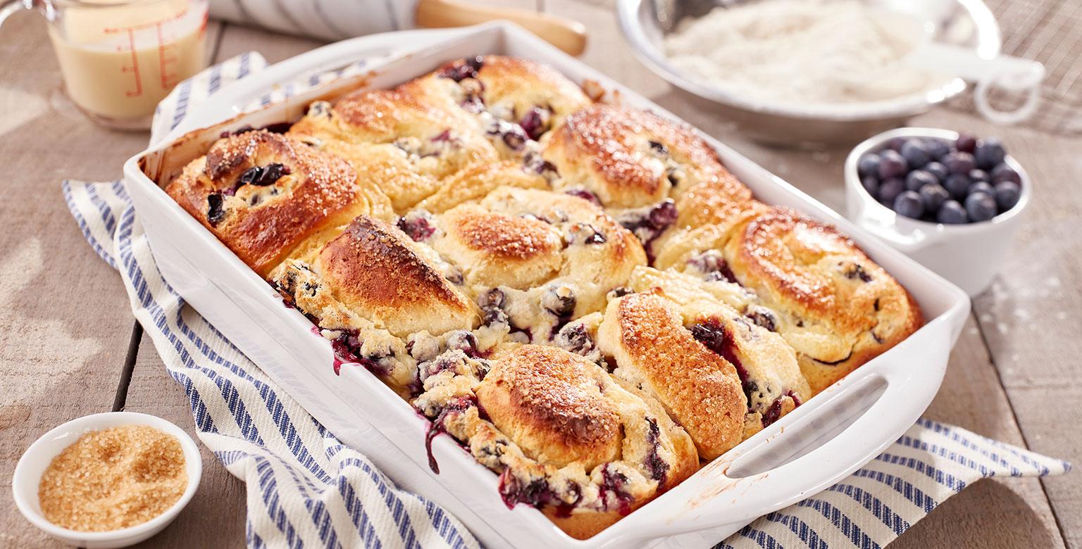 Voir la recette - Brioches aux bleuets frais et au gâteau au fromage