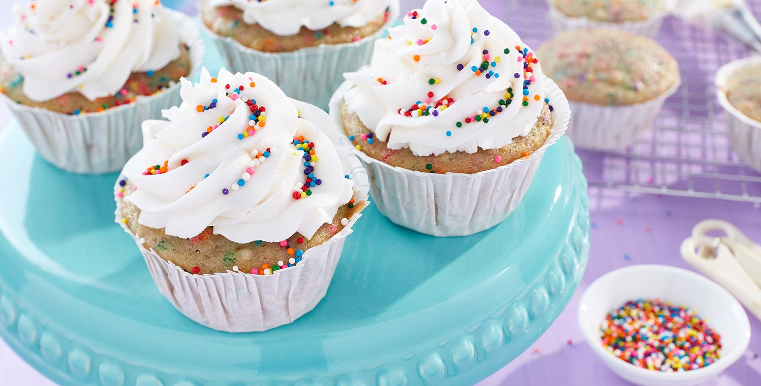Voir la recette - Cupcakes végétaliens avec sucres décoratifs