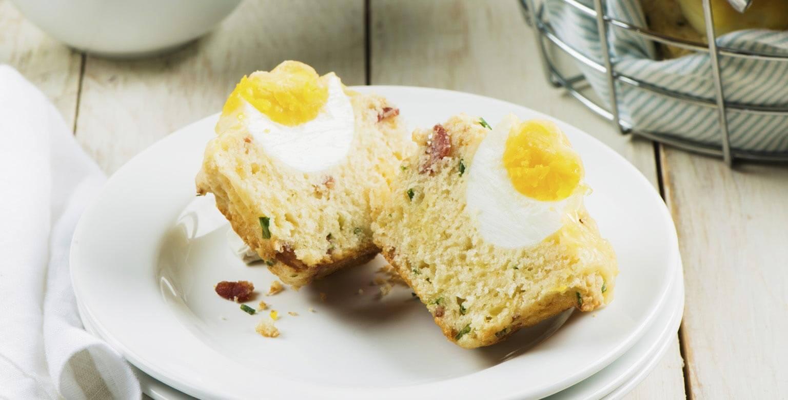 Voir la recette - Muffins déjeuner avec bacon et œufs